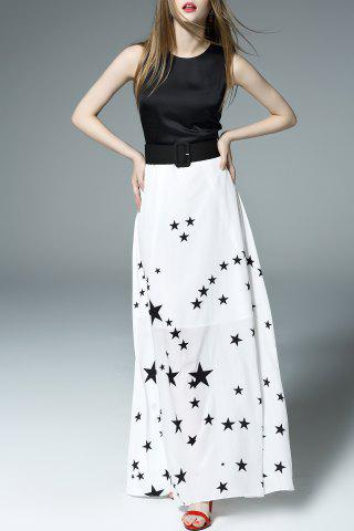 Buy Stars Print Belted Maxi Dress