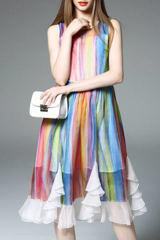 Buy Round Collar Colorful Stripe Dress