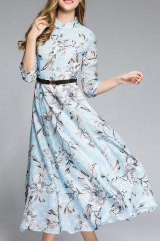 Fancy Three Quarter Sleeve Floral Print Belted Midi Dress