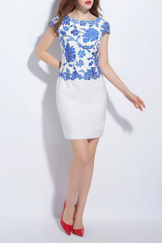 Discount Floral Embroidery Round Neck Sheath Dress