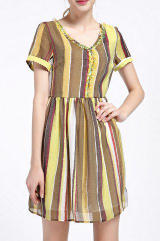 Sale Sequined Colorful Striped Dress