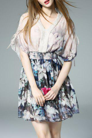 Affordable Floral Print Beaded Dress