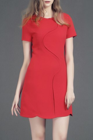 Cheap Round Neck Short Sleeve Solid Color Unique Tailored Dress