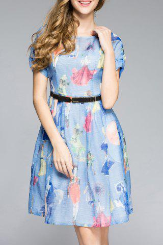 Latest Rolled Sleeve Girl Print Blue Dress