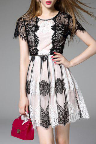 Shop Lace Splicing Short Sleeve Dress