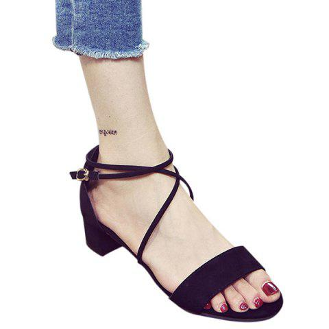 Trendy Chunky Heel and Cross Straps Design Sandals For Women - BLACK 39
