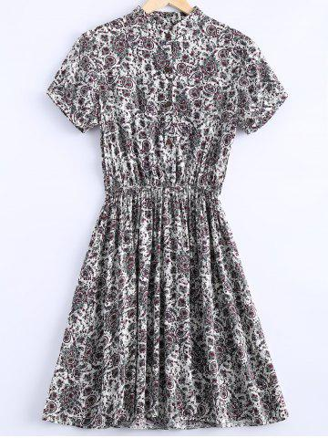 Online Stylish Stand Collar Short Sleeves Paisley Print Dress For Women