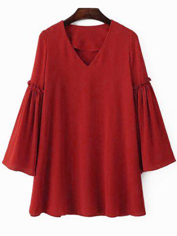 Hot Stylish V Neck Flare Sleeve Solid Color Chiffon Women's Dress