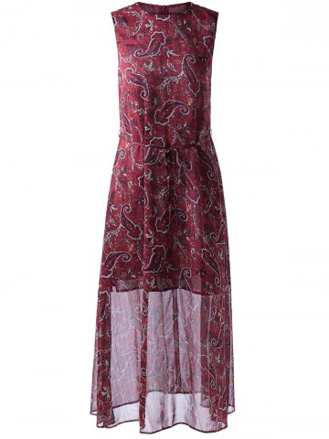 Retro Style Round Collar paisley Printing Dress With Sleeveless For Women - Wine Red - M