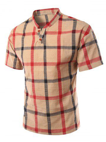 Best Stand Collar Slimming Checked Short Sleeve Polo T-Shirt For Men