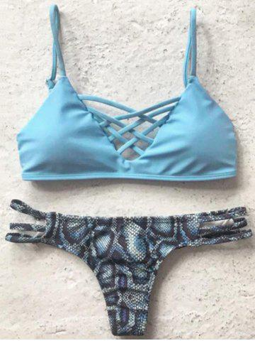 Shops Spaghetti Straps Printed Bikini Set For Women LIGHT BLUE L