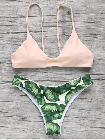 Trendy Palm Tree Spaghetti Straps Bikini