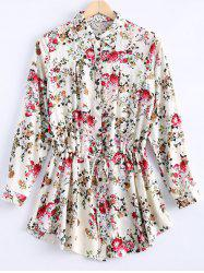 Vintage Long Sleeves Floral Print Shirt Dress For Women -