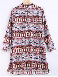Ethnic Style Round Collar Printed Shirt Dress For Women -