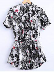 Vintage Short Sleeves Loose-Fitting Printed Shirt Dress For Women -