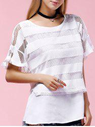 Stylish Plus Size Scoop Neck Ruffle Sleeve Mesh Blouse For Women