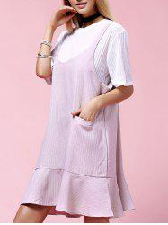 Stylish Plus Size Solid Color Overall Dress Twinset For Women -