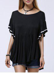 Stylish Scoop Neck Butterfly Sleeve Ruffle T-Shirt For Women -