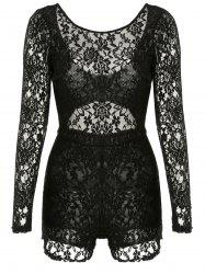 Open Back Sheer Long Sleeve Lace Bodysuit -