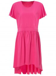 Sweet Scoop Neck Solid Color Pleated Asymmetric Plus Size Dress For Women