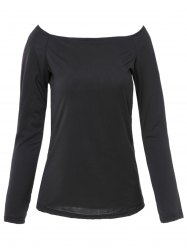 Simple Style Solid Color Off-The-Shoulder Bodycon T-Shirt For Women - BLACK S