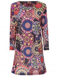 Stylish Scoop Neck 3/4 Sleeve Slimming Printed Women's Dress