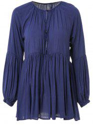 Stylish Plunging Neck Long Sleeve Solid Color Pleated Women's Mini Dress - DEEP BLUE