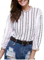 Elegant Round Neck Openwork Lace Long Sleeves Blouse For Women -