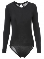 Sexy Black Long Sleeve Bodycon Back Hollow Out Bodysuit For Women - BLACK S