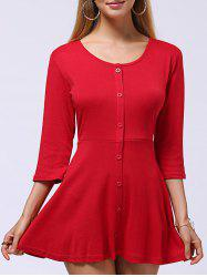 Sweet Button-Down Skater Sweater Dress - RED