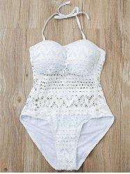 Stylish Halter Hollow Out Mesh Spliced One-Piece Swimsuit For Women