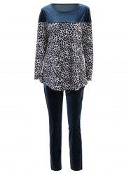 Stylish Jewel Neck Long Sleeve Leopard Print T-Shirt + Elastic Waist Pants Women's Twinset