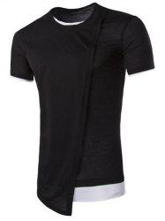 Asymmetric Top Fly Color Spliced Round Neck Short Sleeves Slimming T-Shirt For Men - BLACK
