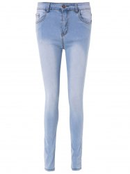 Simple High-Waisted Skinny Blench Wash Women's Jeans - LIGHT BLUE