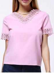 Sweet Short Sleeve V Neck Pure Color Lace Spliced Women's Blouse -