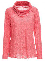 Stylish Cowl Neck Long Sleeve Spliced Women's Sweatshirt - JACINTH