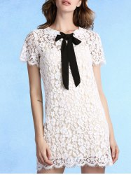 Sweet Cami Top + Bow Tie Neck Short Sleeve Lace Dress Women's Twinset - WHITE 2XL
