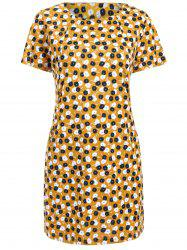 Stylish Jewel Neck Dandelion Print Short Sleeve Dress For Women -