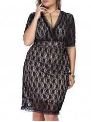 Empire Waist Lace Bodycon Plus Size Cocktail Dress