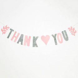 Set of Fashion Thank You Letters Garland Flags For Party Decoration Supplies - PINK + GRAY