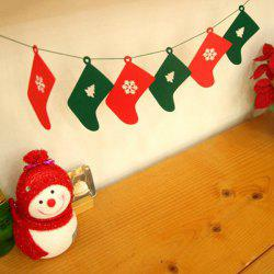 Nonwoven Fabric 6PCS Tree and Snow Pattern Christmas Socks Garland - RED AND GREEN