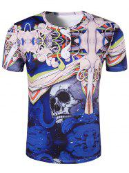 Slimming 3D Skull Printing Collarless Short Sleeves For Men
