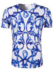Slimming National Style Printing Collarless Short Sleeves For Men - BLUE AND WHITE 2XL