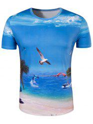 Slimming Collarless Seaside Printing Short Sleeves For Men - BLUE XL