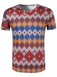 Slimming National Style Printed Collarless Short Sleeves For Men - COLORMIX 2XL