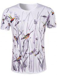 Hot Sale 3D Bird and Flower Printed Round Neck Short Sleeve T-Shirt For Men - COLORMIX
