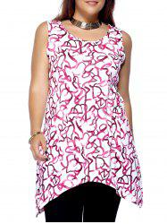 Plus Size Sleeveless Scoop Neck High Low Printed Women's Top