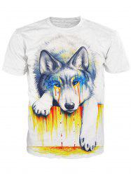 Round Neck 3D Crying Dog Print Short Sleeve Stylish T-Shirt For Men - WHITE