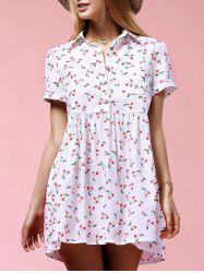 Sweet Short Sleeve Cherry Print Women's Mini Dress