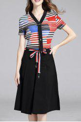 Striped Top and Culotte Pants -